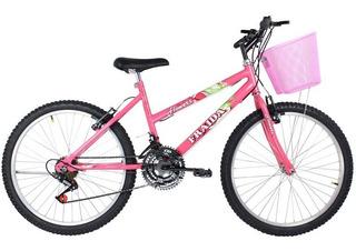 Bicicleta Feminina Aro 26 Mountain Bike Com Cesta - Rosa