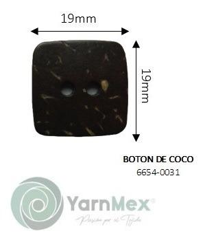 Botón De Coco | 6654-0031 - 10pzas