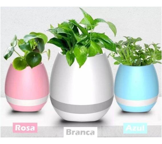 Caixa De Som Bluetooth Led Sensor Musical Vaso Para Planta
