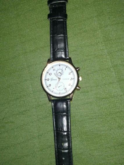 Relógio Geneva Feminino Pulseira De Coro Na Cor Preta.