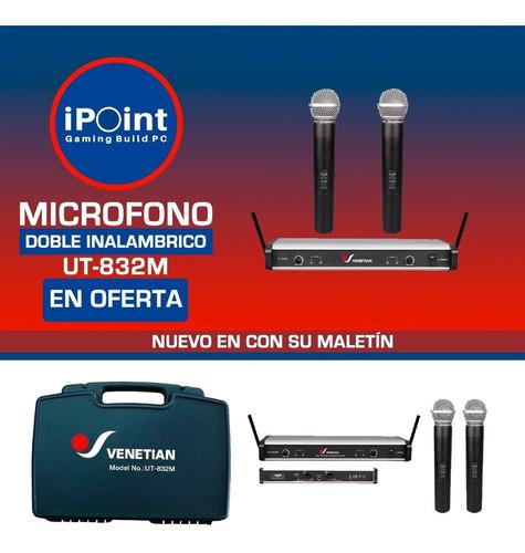 Micrófono Inalámbrico Uhf Venetian Ut-832m Doble