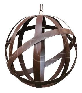 Lámpara Colgante Esfera - Jaula Chapa Hierro Óxido