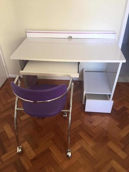 Escrivaninha E Cadeira De Rodinhas