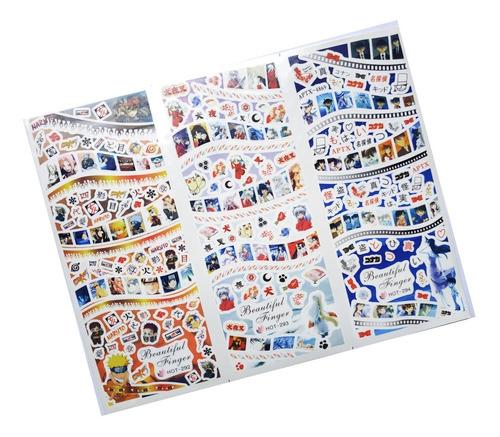 Imagen 1 de 1 de Hoja Tatoo Sticker Agua Para Uñas Naruto Inuyasha