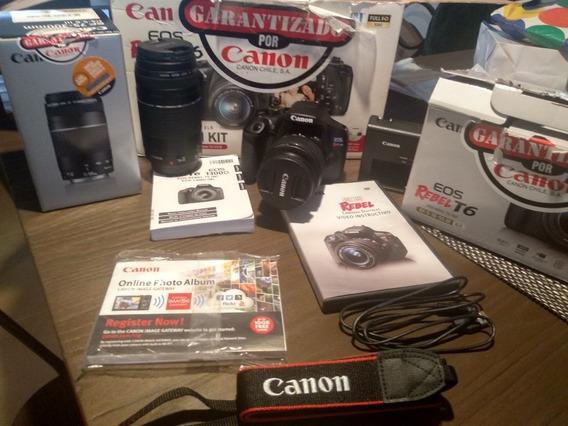 Canon Rebel T6 + Lente 18-55mm Y 75-300mm + Bolso + Sd 16gb.