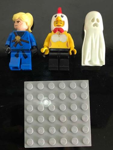 Lego Lote Minifiguras Originales Custom X3 Con Base Marvel