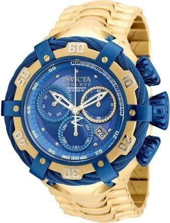 Relógio Masculino Thunder Dourado Fundo Azul Frete Gratís