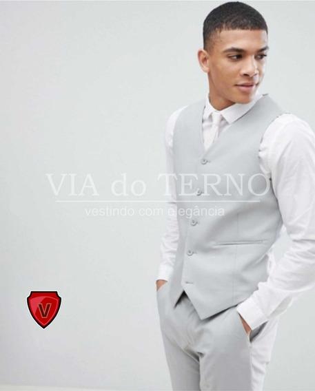 Colete Social Masculino Cinza Claro + Calça + Camisa