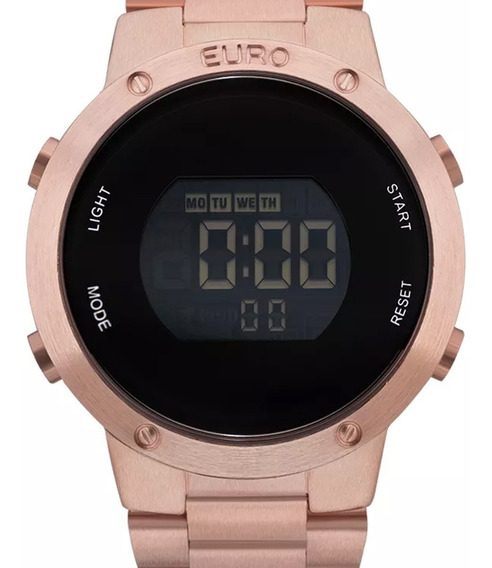 Relógio Euro Feminino Digital Rose Gold Original Garantia