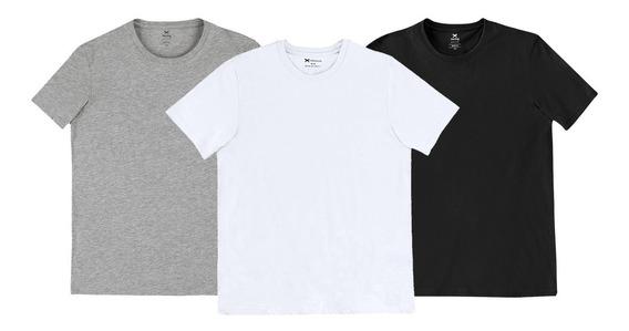 Kit 3 Camisetas Masculinas Branco Cinza Preto Tam P Hering