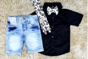 Bermuda Jeans, Camisa Social Preta Com Suspensório E Gravata