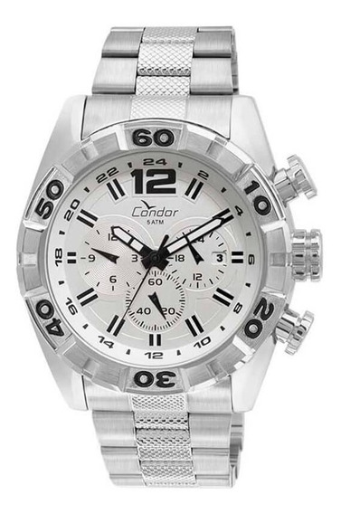 Relógio Condor Masculino Aço Prata Dual Time Original