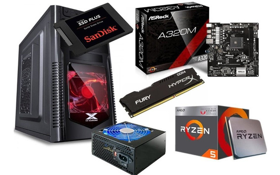 Kit Orion Ryzen 5 2400g A320m Hd Hyperx 16gb Fonte Ssd 240g