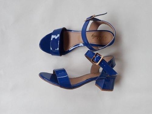 Sandália Salto Baixo Grosso Bloco 3,5cm Confortável Cores