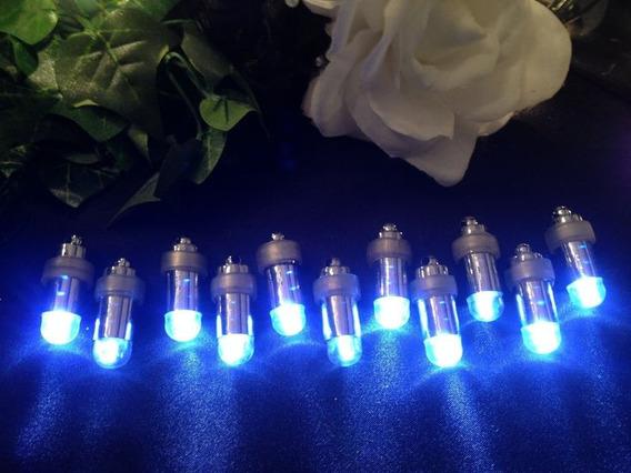 10 Luz Palito Vela Azul Led Sumergible Cotillon Globo C Mesa