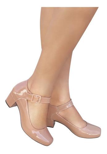 Sapato Feminino Nude Boneca Duani Salto Baixo Grosso