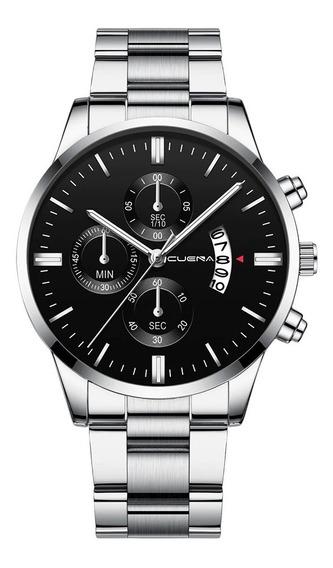 Relógio Masculino Aço Inoxidável Prata Poucas Unidades