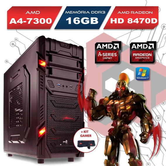 Computador Gamer Gt Amd A4 7300 16gb Ssd 120gb E Kit Gamer