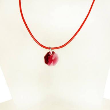 Collar O Colguije De Octagonal De Cristal Rojo Rubi
