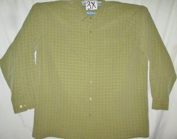 Camisa Casual/vestir Verde Talla 3x Tall (p-alto)harbor Bay