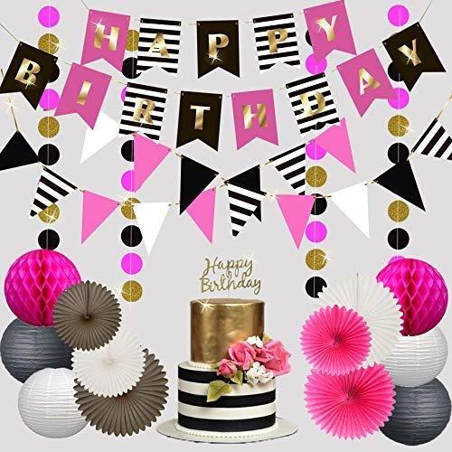 Imagen 1 de 7 de Feliz Cumpleaños Decoraciones_hot Pink_gold_black_white