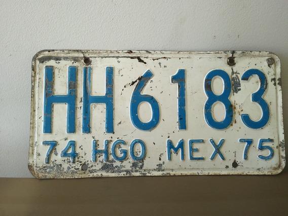 Placa Antigua Hidalgo 74-75 Matricula Carro Antiguo Coleccio