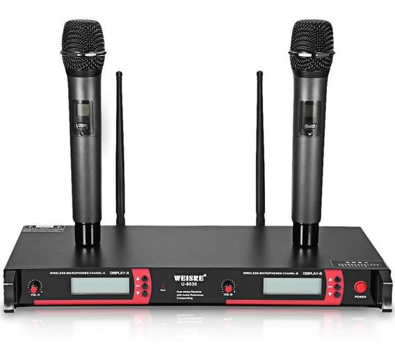 Microfone Duplo Sem Fio 50m Uhf U-8030 Weisre Profissional