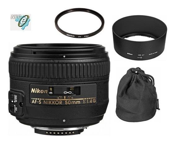 Lente Nikon 50mm F/1.4g Af-s Fx + Uv 58mm Nota Fiscal