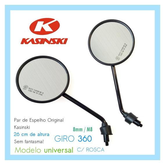 Kit C/ 5 Espelho Retrovisor Esq Dir Moto 360 Rosca 8mm M8