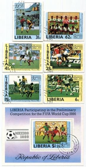 Hoja Estampillas Mundial Futbol Mexico 86 Liberia