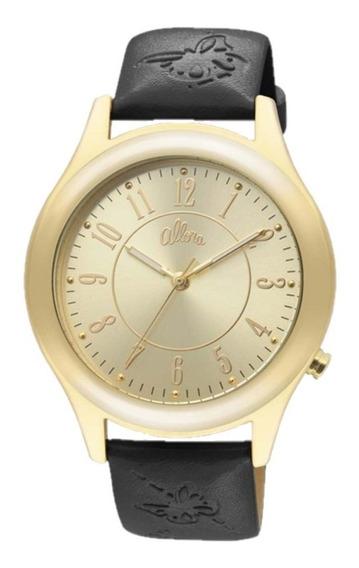 Relógio Allora Al2035ec/2p Pulseira Couro Sintético Preto