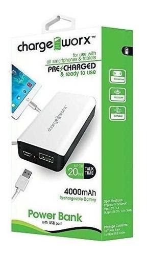 Imagen 1 de 1 de Cargador Charge Worx Portatil 4000mah P/celulares,mp3