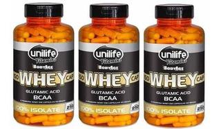 Kit 3 Whey Protein 100% Isolada - Unilife - 250 Cápsulas