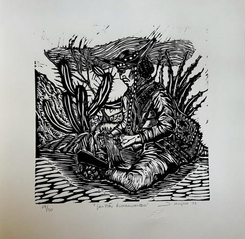 Imagem 1 de 1 de Xilogravura Assinada Lampião Alinhavando - Jefferson Campos