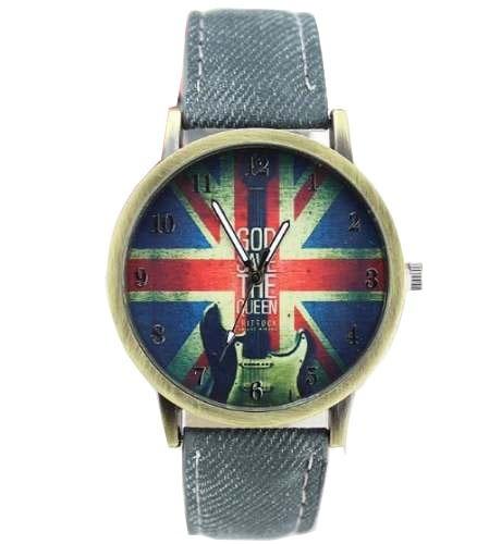 Relógio Rock Bandeira Inglaterra Jeans Dia Dos Pais 144a