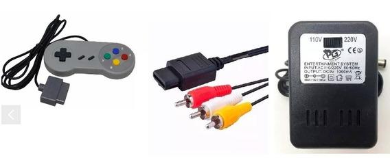 1 Fonte Nintendo Snes 1 Controle Snes 1 Cabo De Vídeo Av Rca