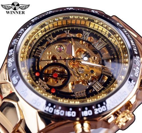 Relógio Dourado Winner Masculino Automático Original