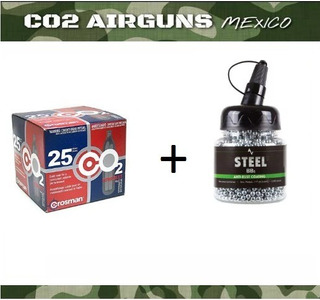 Paquete 25 Tanques Co2 12gr + 2500 Postas Air Venturi Zinc