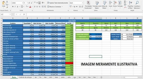 Planilha Excel Controle Lucro Estoque Fluxo De Caixa Vendas