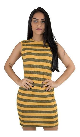 Kit 10 Vestido Curto Justo Canelado Moda Roupas Femininas