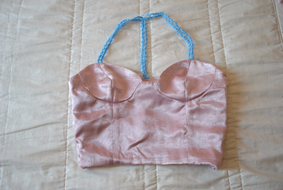 Crop Top Rosa Viejo Satin Moda Kawaii Handmade