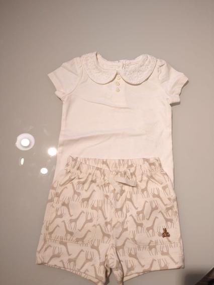 Conjunto De Blusa E Shorts Feminino Infantil Bebê Baby Gap