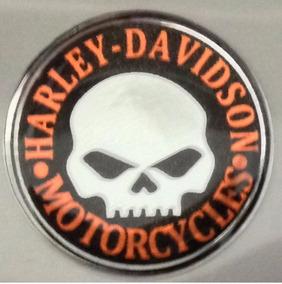 Adesivo Harley Davidson Skull Preto/laranj.3cm Brinde T3at