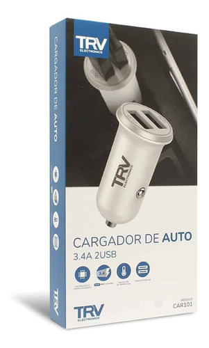 Imagen 1 de 5 de Cargador Auto Trv Carga Rápida 3,4a Celular Tablet Usb