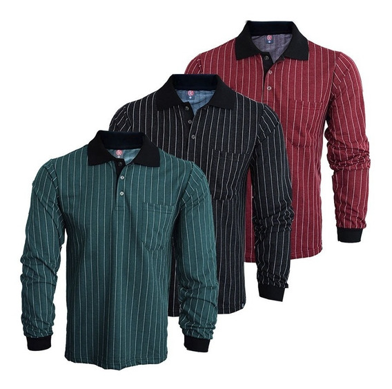 Camisa Polo Moletim Manga Longa Com Bolso Kit 3 Peças