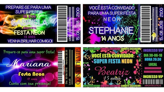 100 Convites Personalizados Ingresso Vip Neon Balada 14x7cm