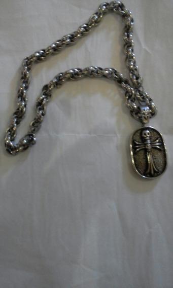 Lindo Cordão De Aço Com Crucifixo De Caveira