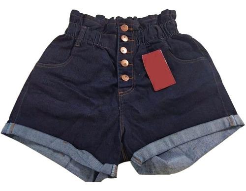 Imagem 1 de 3 de Short Jeans Plus Size Feminino Cintura Alta Lycra E Elastico