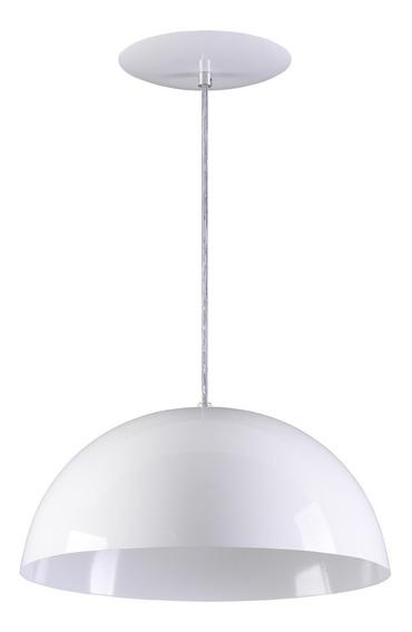Pendente Meia Lua 40cm Meia Bola Alumínio - Branco