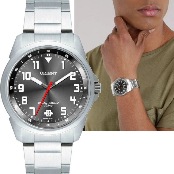 Relógio Masculino Orient Prateado Original Mbss1154a G2sx